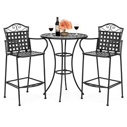 Outdoor Bar Height Bistro Set Garden Dining Table Chairs Patio Furniture 3 Piece