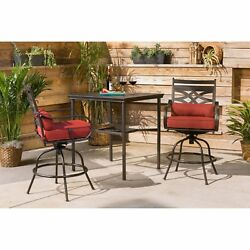 Outdoor Bistro Set 3 Piece High Bar Table Chairs Patio Dining Furniture Garden