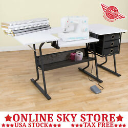 Home Sewing Table Hobby Laptop Craft Desk Sew Machine Tray Center Workstation