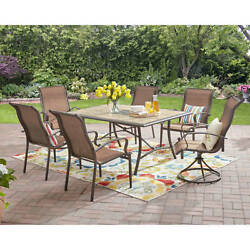 Patio Dining Set Outdoor Garden Furniture Yard Swivel Chairs Table 7 Piece Lawn