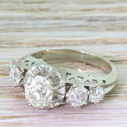 RETRO 2.42ct OLD CUT DIAMOND FIVE STONE RING - 18k Gold & Plat - FRENCH c 1955