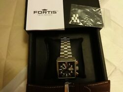 FORTIS SQUARE SS BRUSHED BRACELET W EXTRA BROWN LEATHER STRAP