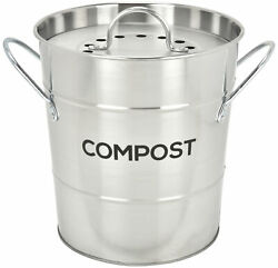 Spigo Steel Kitchen Compost Bin With Vented Charcoal Filter and Bucket Satin Si $25.24