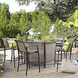 5-Piece Outdoor Furniture High Top Table Set Dining Patio Bar Height Dinning NEW