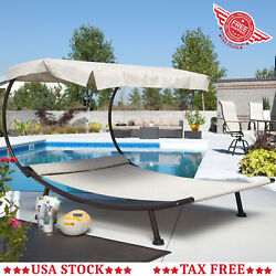 Large Chaise Lounge Beach Poolside Metal Frame Sling Day Star Bed Hammock Canopy