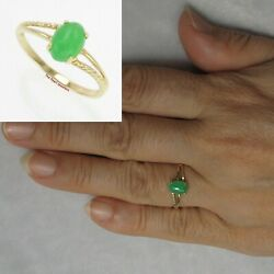 Simple & Elegant 14k Yellow Gold Cabochon Oval Green Solitaire Jade Rings TPJ