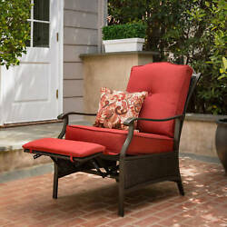 Outdoor Chaise Lounge Chair Recliner Cushioned Patio Garden Furniture Wicker Red