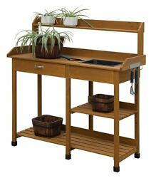 Potting Bench With Storage Shelves Outdoor Kitchen Cabinets Garden Wood Plant