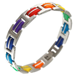 LGBT Gay Pride Rainbow Color Stainless Steel and Rubber Bracelet 7.5