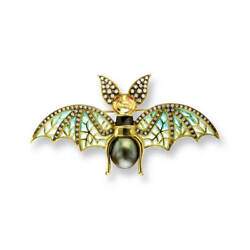 18ct Gold Plique-a-Jour Vitreous Enamel Bat Pendant Diamond & Tahitian Pearl