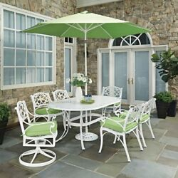 Home Styles Biscayne 9 Piece Oval Outdoor Dining Set with Cushions and Umbrella