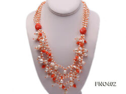 JYX 4mm Natural White Round Freshwater Pearl with Pink Coral Opera Necklace 24