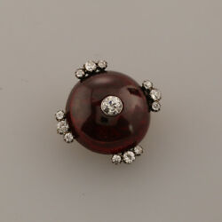 Victorian Garnet and Diamond Brooch 9ct Rose Gold Silver Set