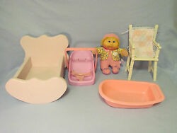 "5 Lot-11"" Cabbage Patch Baby Doll+Furniture~Bath Tub~Cradle~High Chair~Car Seat"