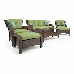 La-Z-Boy Outdoor Sawyer 6 Piece Resin Wicker Patio Furniture Conversation Set