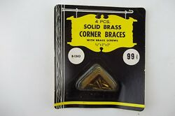 Set of 4 Vintage SOLID BRASS CORNER BRACES 12