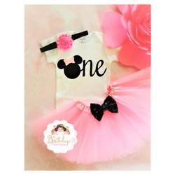 First birthday outfit Minnie Mouse outfitPink And Black outfitHandmade $26.99