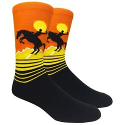 Fine Fit Mens Novelty Crew Dress Socks LARGE Rodeo $9.99