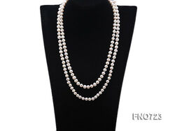 JYX Real 7-8mm White Round Freshwater Cultured Pearl Opera Long Necklace 50