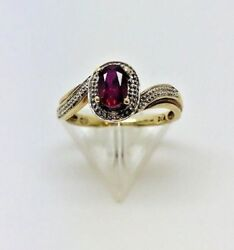 9ct yellow gold Diamond & red C.Z stone ring size L ½ total weight 1.86 Grams