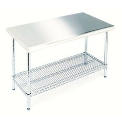 Stainless Steel Kitchen Utility Table Large Heavy Duty w. Shelf Seville Classics