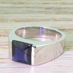CARTIER 3.00ct SAPPHIRE TANK RING - 18k White Gold