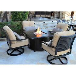 NEW 5-Pcs Outdoor Patio Fire Pit Set Table & Chair Backyard Fireplace Furniture