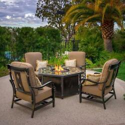 NEW Outdoor 5-piece Fireplace Seating Patio Set Propane Fire Pit Table