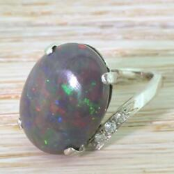 MID CENTURY 8.67ct NATURAL BLACK OPAL SOLITAIRE RING - 18k White Gold - FRENCH