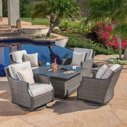 5-Piece Fireplace Patio Set w Amber Glass Stone Fire Pit Table Outdoor Furniture