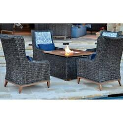 Outdoor 5-piece Patio Fire Pit Set Propane Gas Fireplace Table & Wicker Chairs