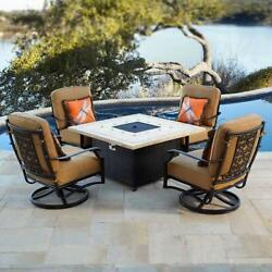 5-piece Gas Fire Table Top Patio Set w Rocking Chair Outdoor Propane Fireplace