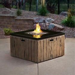 Outdoor Gas Fire Pit Table w Stainless Steel Burner Backyard Patio Furniture