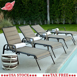 Set of 2 Sling Chaise Lounge Chair Pool Metal Fabric Sun Lounger Poolside Beach