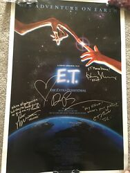 E.T. Extra Terrestrial Original Movie Poster 27x41 Signed By Cast With Quotes!