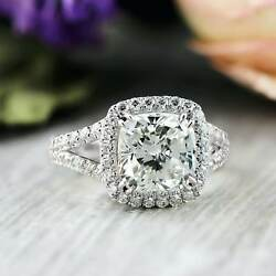Certified 3.04 Ct White Cushion Diamond Engagement Wedding 14K White Gold Ring