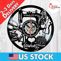 Sewing Instruments Hobby Sew Vinyl Record Wall Clock Gift For Woman Home Decor $24.99