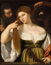 Tiziano Vecellio Girl Before the Mirror Giclee Canvas Print Poster LARGE SIZE