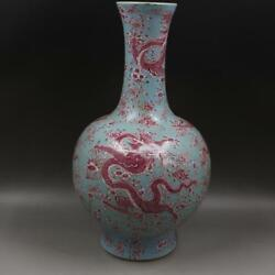 Chinese Old Marked Sky Green Glaze Famille Rose Dragons Pattern Porcelain Vase