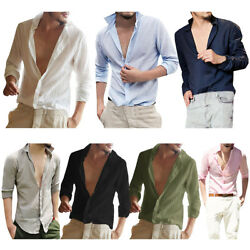 Men Summer Fashion Slim Fit Shirt Top Long Sleeve Casual T-shirt Tee Beach Wear