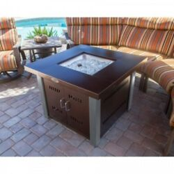 Fire Pit Table With Lid Propane Gas Patio Outdoor Heater Stainless Steel Bronze