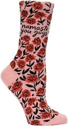 Blue Q Novelty Women#x27;s Crew Socks Namaste You Guys Floral Pink Black OSFA $9.99