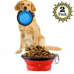2 pcs Portable Pet Travel Bowls: Food Water feeder for Dogs amp; Cats Collapsible $12.95