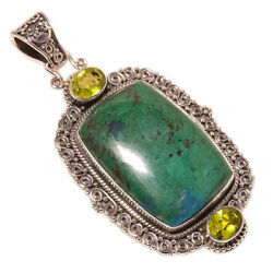 African Azurite Peridot vintage Style 925 Sterling Silver Pendant 2.64