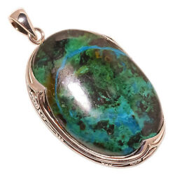 African Azurite 925 Sterling Silver Pendant 2.44