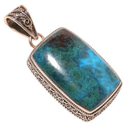 African Azurite vintage Style 925 Sterling Silver Pendant 1.97