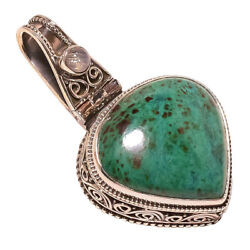 African Azurite Moonstone vintage Style 925 Sterling Silver Pendant 1.65