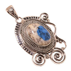 African K2 Azurite Vintage Style 925 Sterling Silver Pendant 1.97