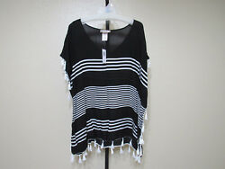NWT Camp;T Beach Womens Beach Cover Ups Color Black White Size Large MSRP $58.00 $15.29