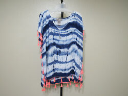 NWT Camp;T Beach Womens Beach Cover Ups Blue Tie Dye Size Large MSRP $58.00 $15.29